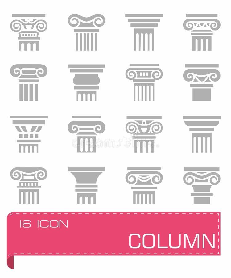 Grupo do ícone da coluna ilustração stock
