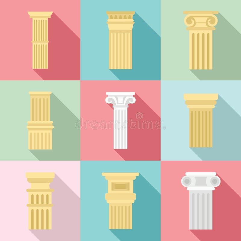 Grupo do ícone da coluna, estilo liso ilustração do vetor