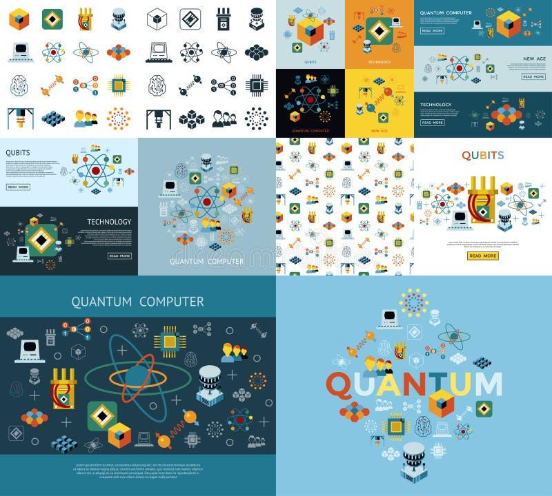 Grupo do ícone da computação de quantum de Digitas ilustração royalty free