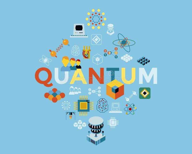 Grupo do ícone da computação de quantum do vetor de Digitas ilustração royalty free