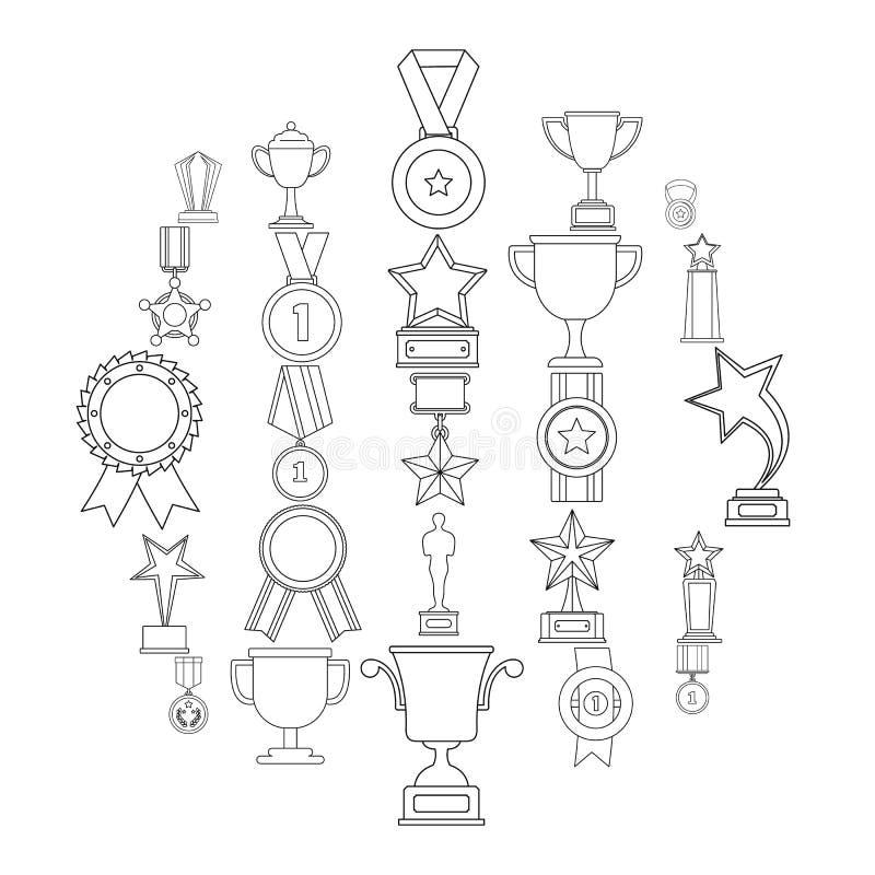 Grupo do ícone da concessão da medalha, estilo do esboço ilustração stock
