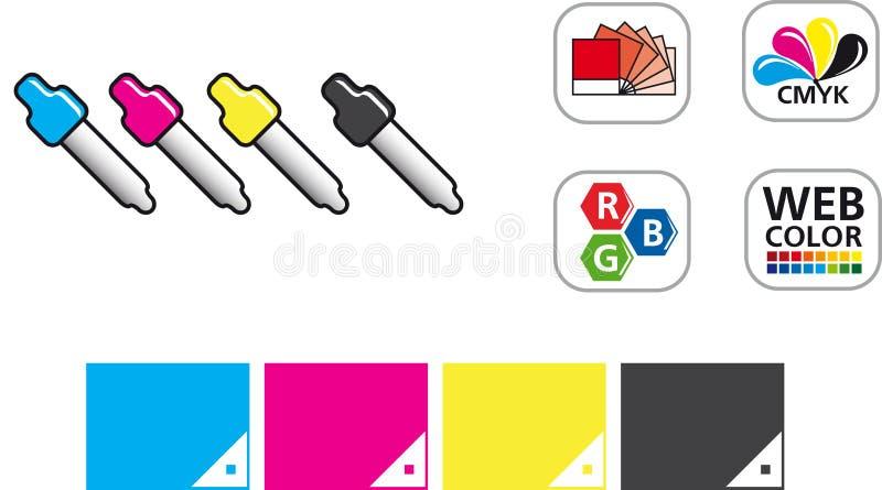 Grupo do ícone da cor CMYK ilustração royalty free