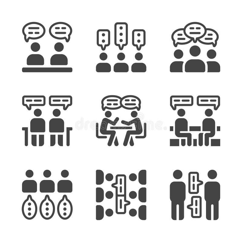 Grupo do ícone da discussão ilustração do vetor