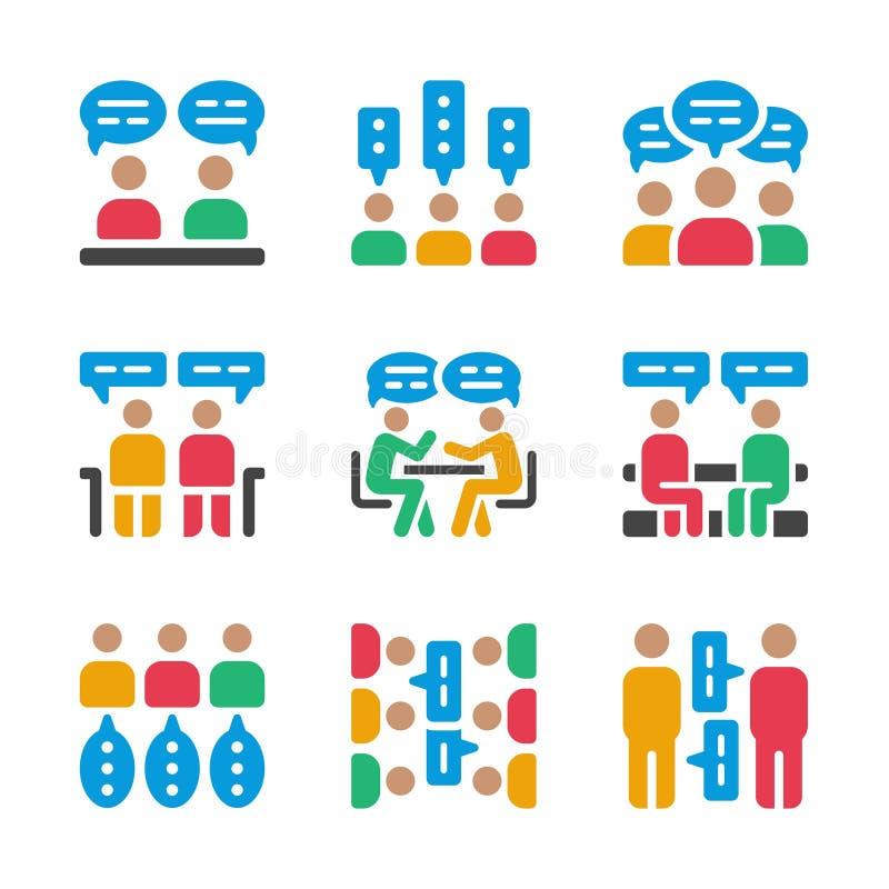 Grupo do ícone da discussão ilustração stock