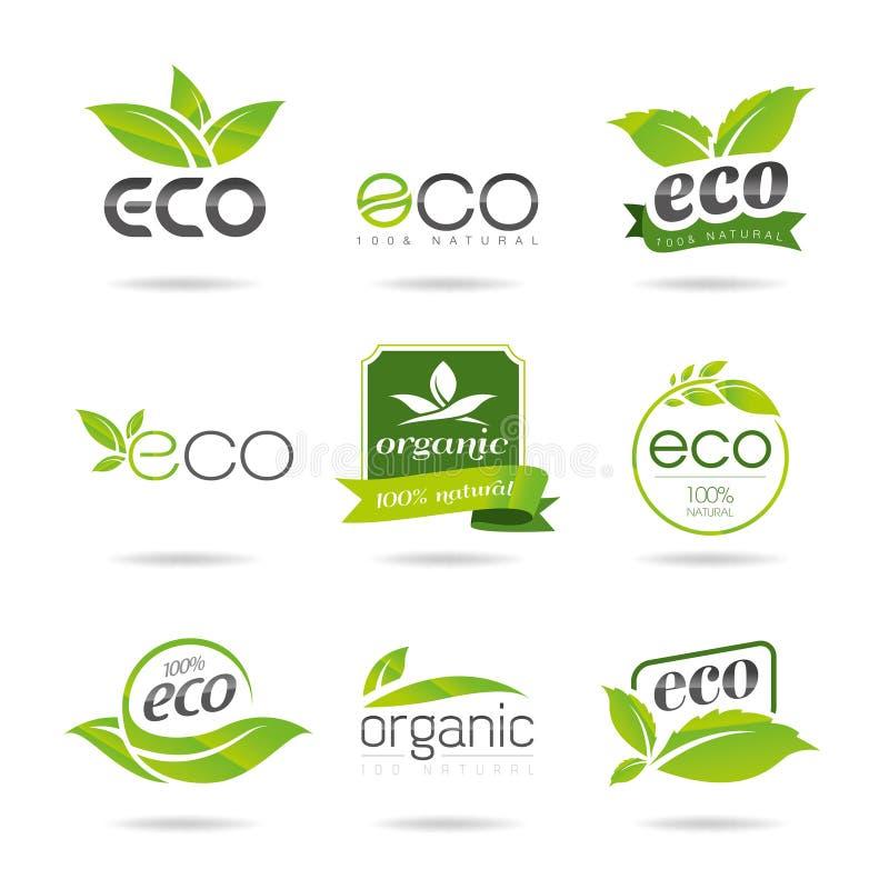 Grupo do ícone da ecologia. Eco-ícones ilustração stock