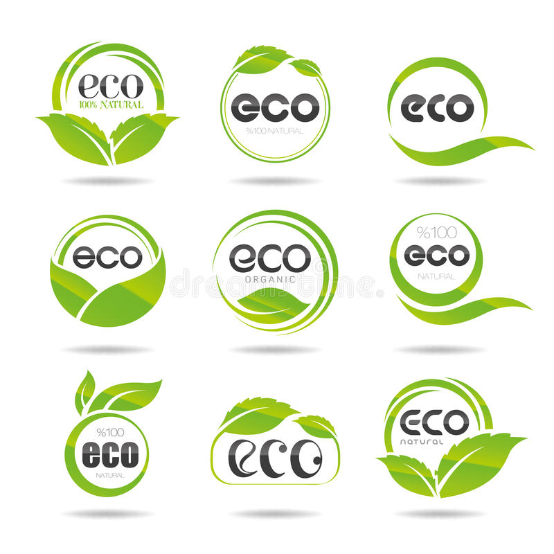 Grupo do ícone da ecologia. Eco-ícones ilustração royalty free