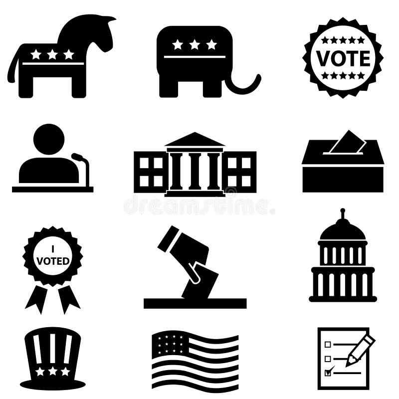 Grupo do ícone da eleição e da votação ilustração royalty free