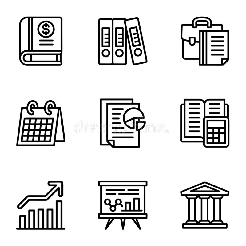 Grupo do ícone da empresa, estilo do esboço ilustração do vetor