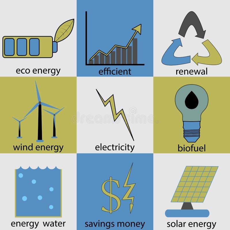 Grupo do ícone da energia de Eco ilustração royalty free