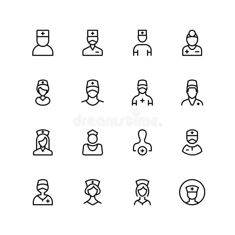 Grupo do ícone da enfermeira ilustração royalty free