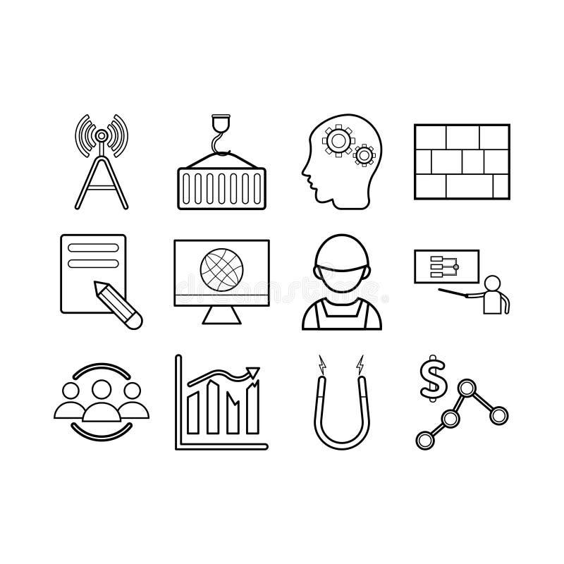 Grupo do ícone da engenharia ilustração do vetor