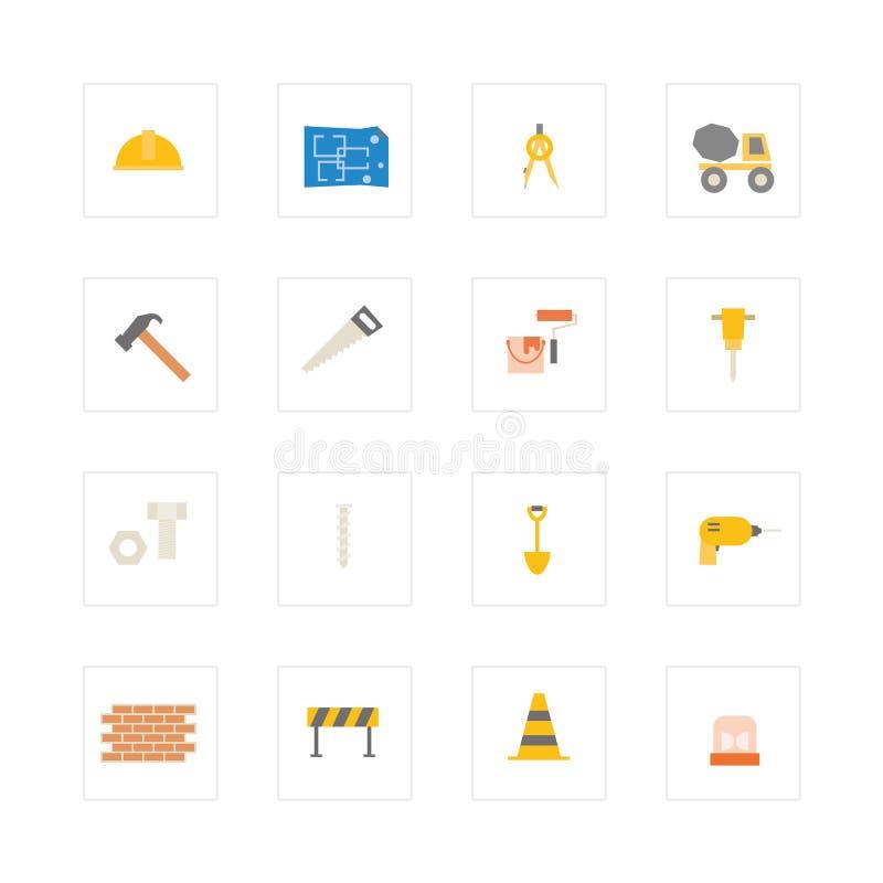 Grupo do ícone da engenharia e da construção ilustração royalty free