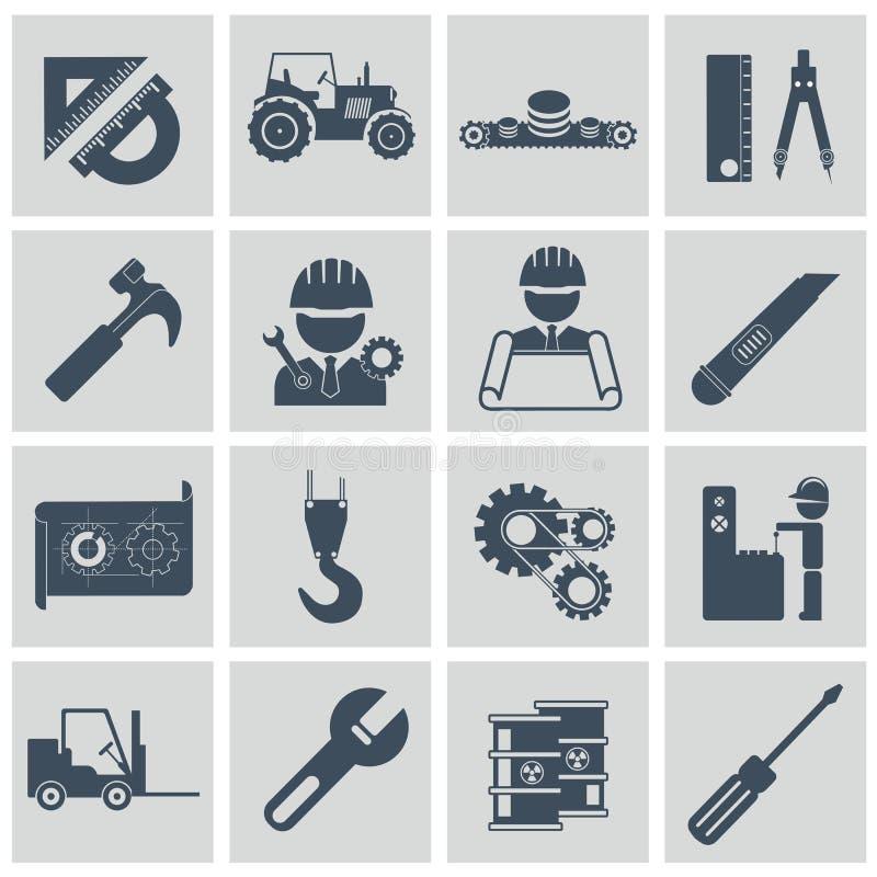 Grupo do ícone da engenharia Projete ícones de controlo e de fabricação do operador de máquina do equipamento de construção ilustração stock
