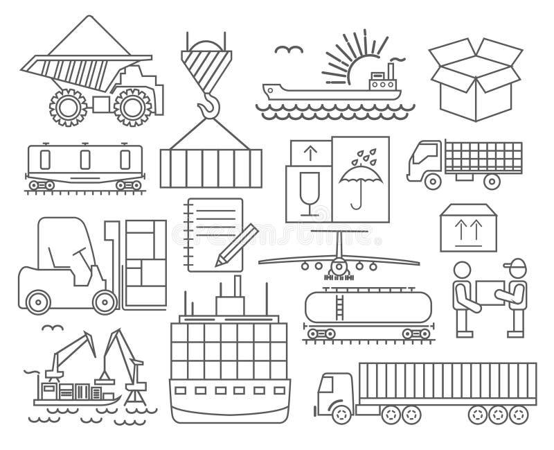 Grupo do ícone da entrega do transporte de carga Linha fina projeto ilustração royalty free