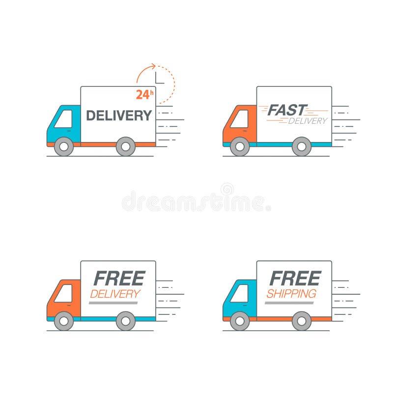 Grupo do ícone da entrega Transporte o serviço, ordem, 24 horas, rapidamente e livre-o ilustração do vetor