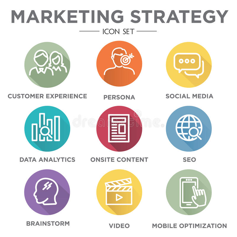 Grupo do ícone da estratégia de marketing ilustração do vetor