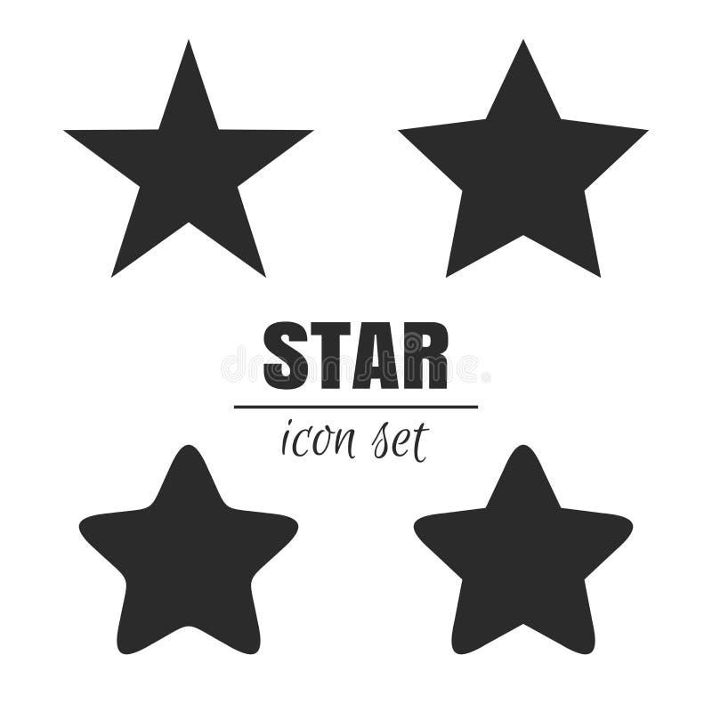 Grupo do ícone da estrela ilustração stock