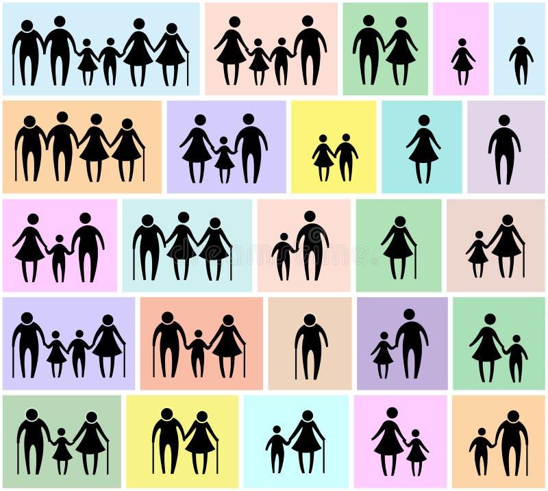 Grupo do ícone da família ilustração royalty free