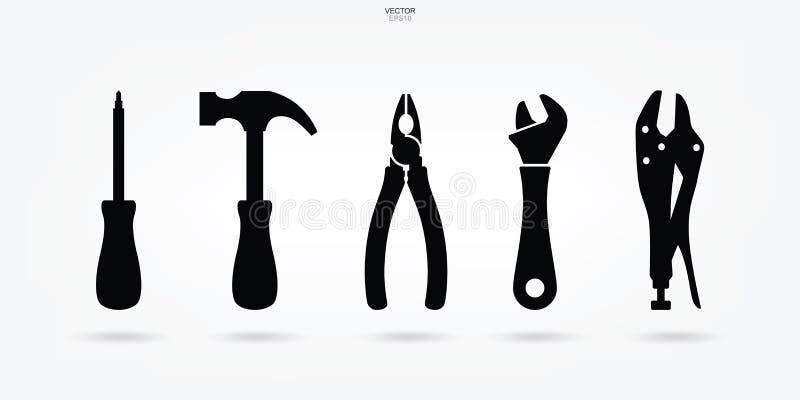 Grupo do ícone da ferramenta do artesão Sinal e símbolo da ferramenta do técnico Vetor ilustração do vetor
