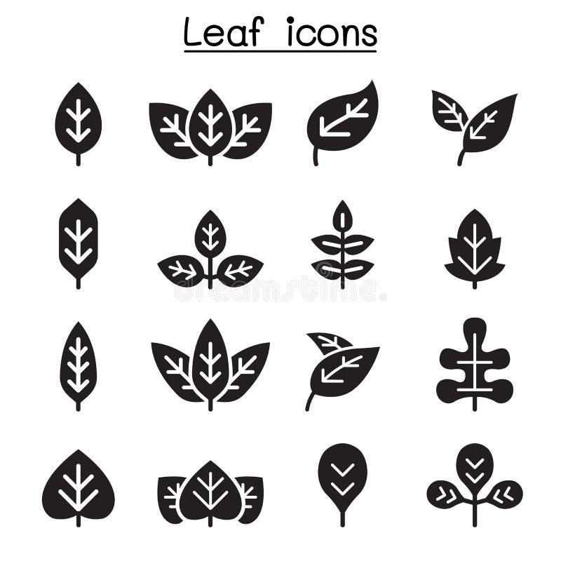 Grupo do ícone da folha ilustração stock