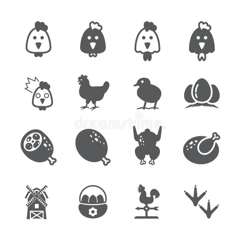 Grupo do ícone da galinha ilustração do vetor