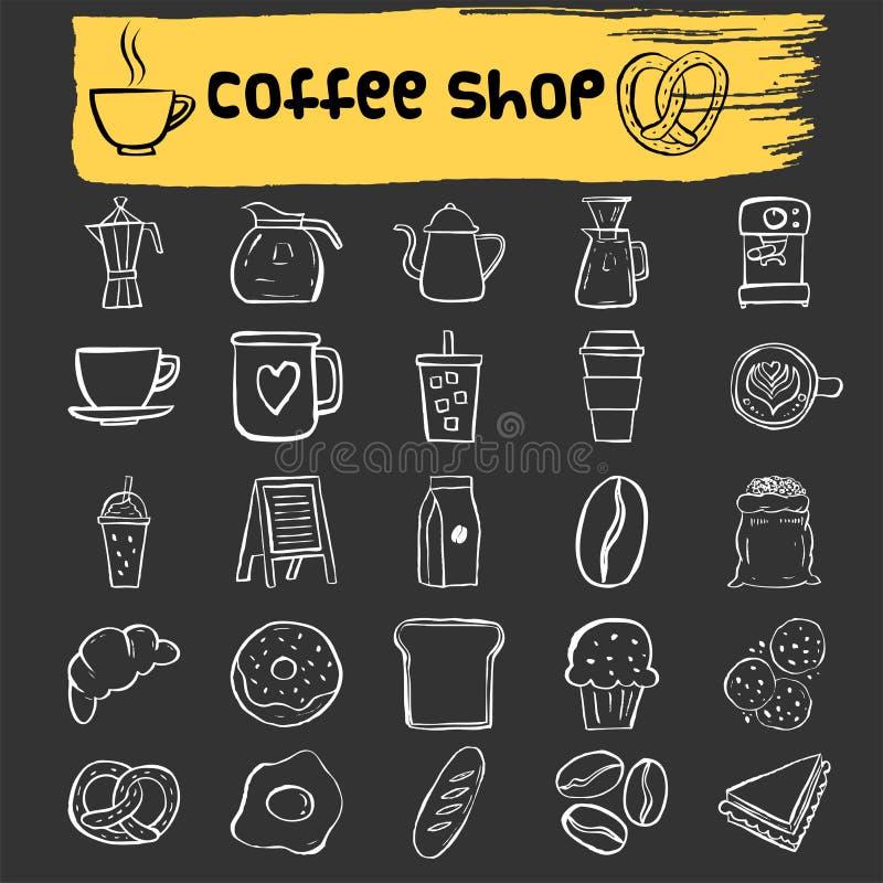 Grupo do ícone da garatuja da cafetaria ilustração royalty free