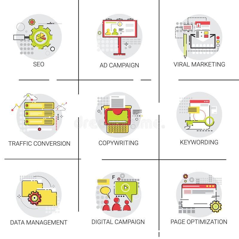 Grupo do ícone da gestão de dados de Seo Marketing Ad Campaign Optimization da conversão do tráfego ilustração stock