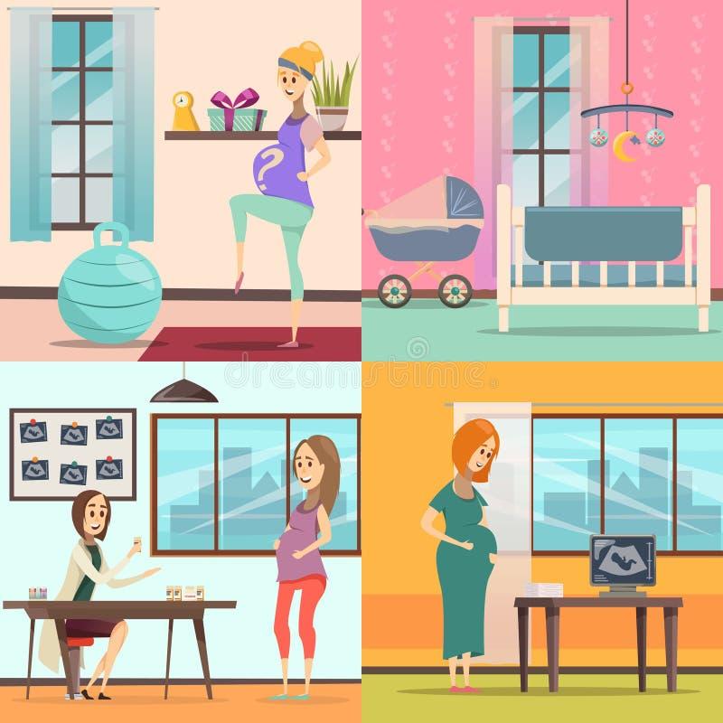 Grupo do ícone da gravidez ilustração royalty free