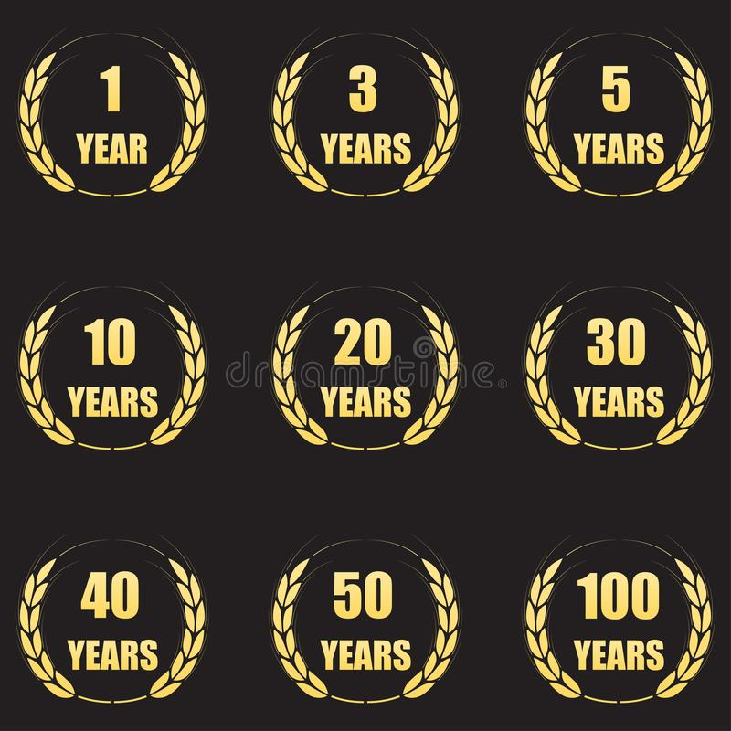 Grupo do ícone da grinalda do louro do aniversário Símbolos do aniversário do ouro isolados no fundo preto 1,3,5,10,20,30,40,50,1 ilustração do vetor