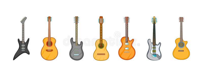 Grupo do ícone da guitarra, estilo dos desenhos animados ilustração stock