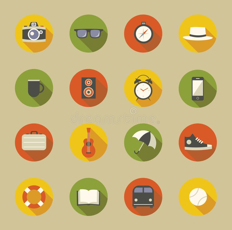 Grupo do ícone da ilustração do vetor: câmera, vidros, compasso, chapéu, bebida, música, pulso de disparo, telefone, saco, guitar ilustração royalty free