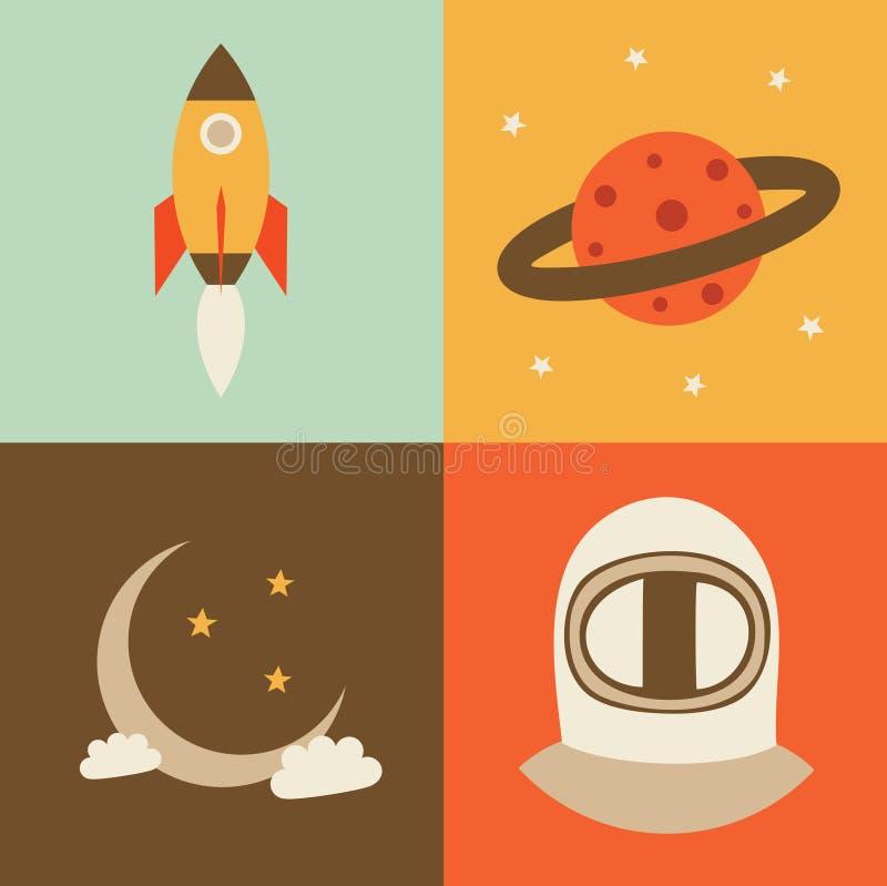 Grupo do ícone da ilustração do vetor de espaço: foguete, planeta, lua crescente, astronauta ilustração do vetor
