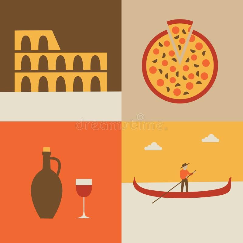 Grupo do ícone da ilustração do vetor de Itália: bandeira, coliseu, pizza, gondoleiro ilustração stock