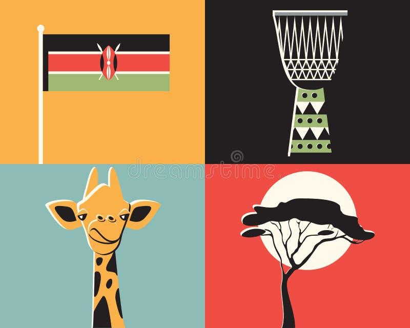 Grupo do ícone da ilustração do vetor de Kenya imagem de stock