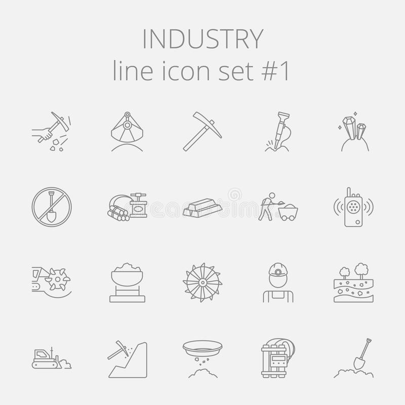 Grupo do ícone da indústria ilustração royalty free