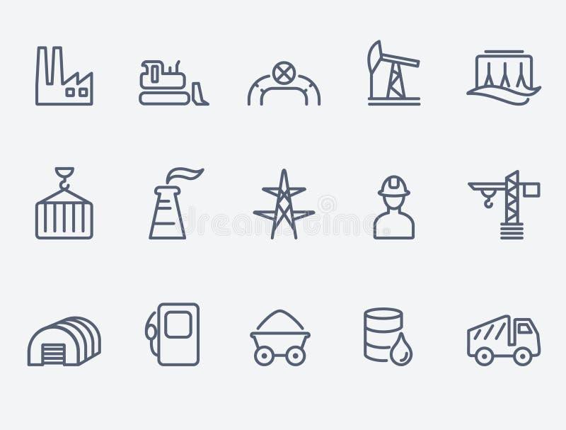 Grupo do ícone da indústria ilustração stock