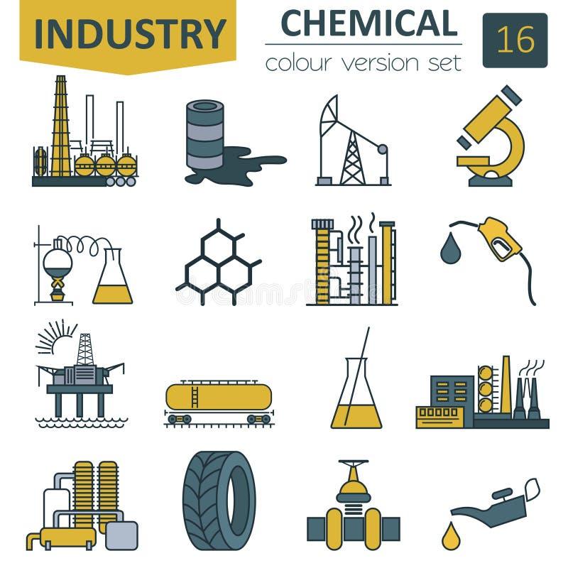Grupo do ícone da indústria química Projeto da versão da cor ilustração royalty free