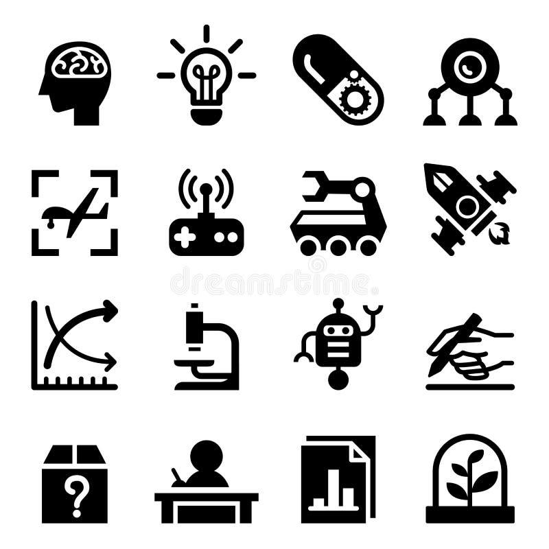 Grupo do ícone da invenção & da pesquisa ilustração stock