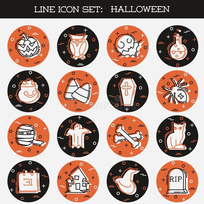 Grupo do ícone da laranja e do Brown Dia das Bruxas imagens de stock