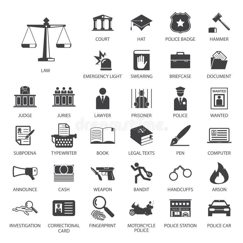 Grupo do ícone da lei e da polícia ilustração stock