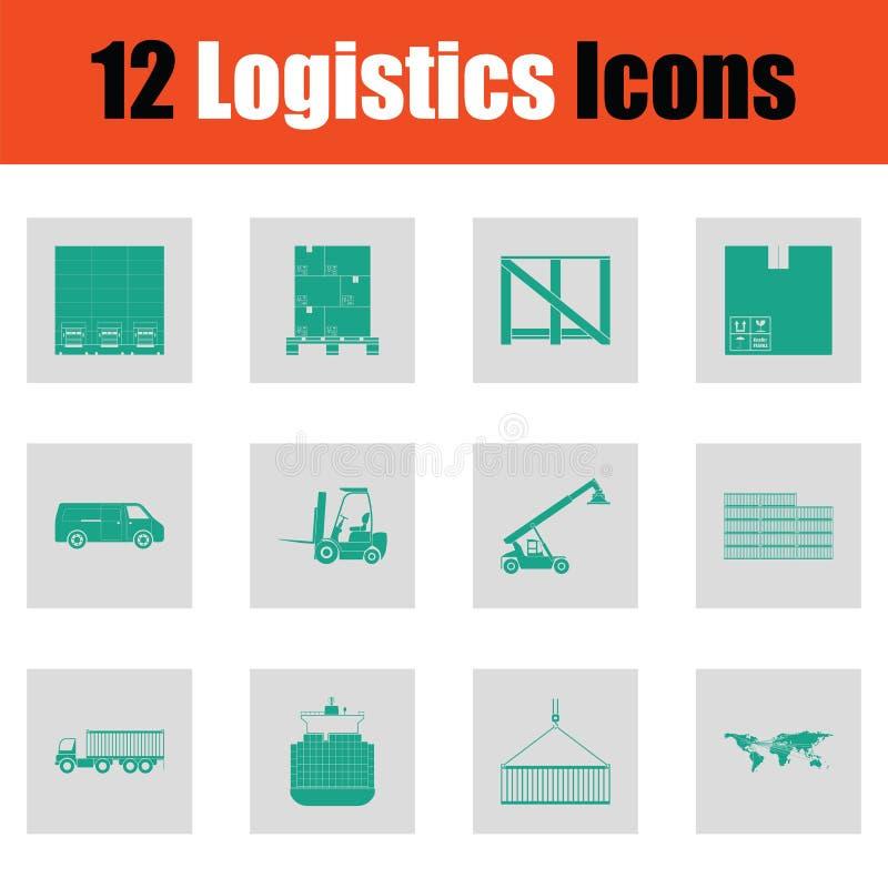 Grupo do ícone da logística ilustração royalty free