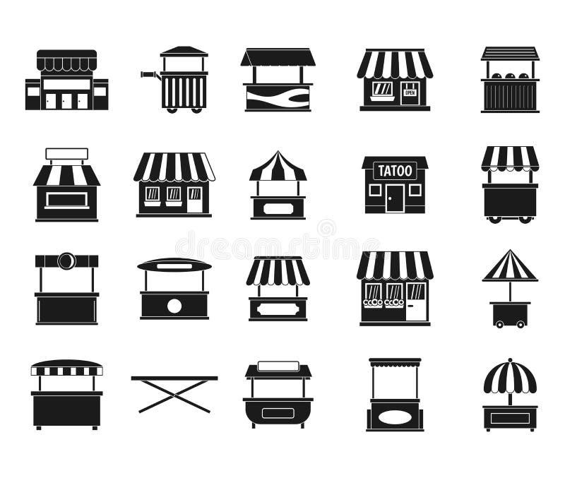 Grupo do ícone da loja da rua, estilo simples ilustração royalty free