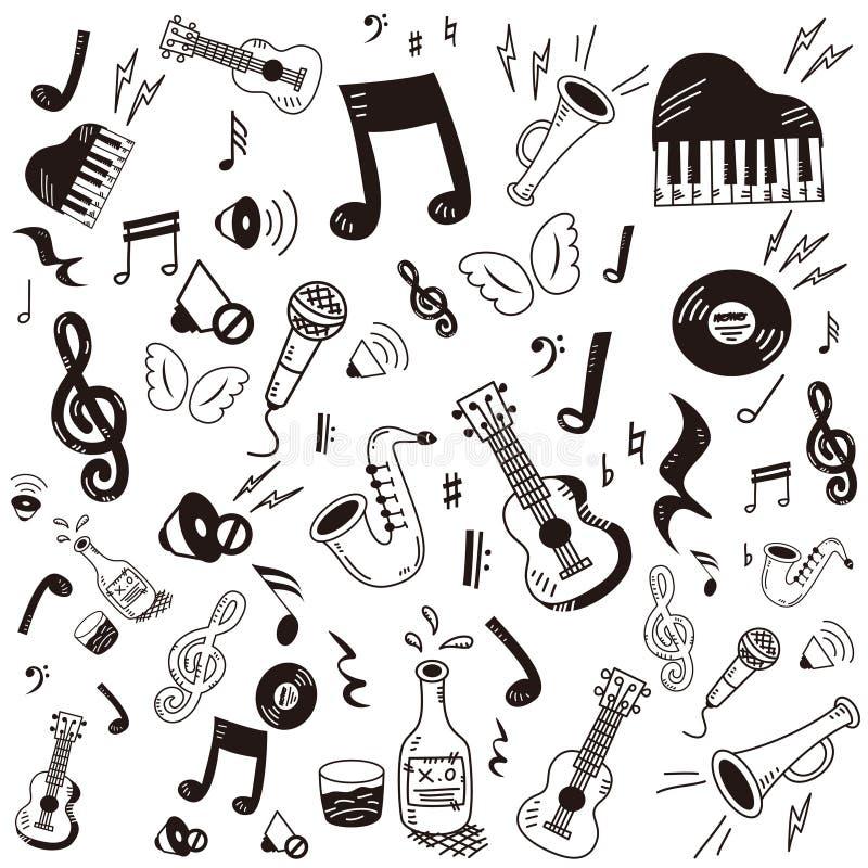Grupo do ícone da música da garatuja ilustração stock