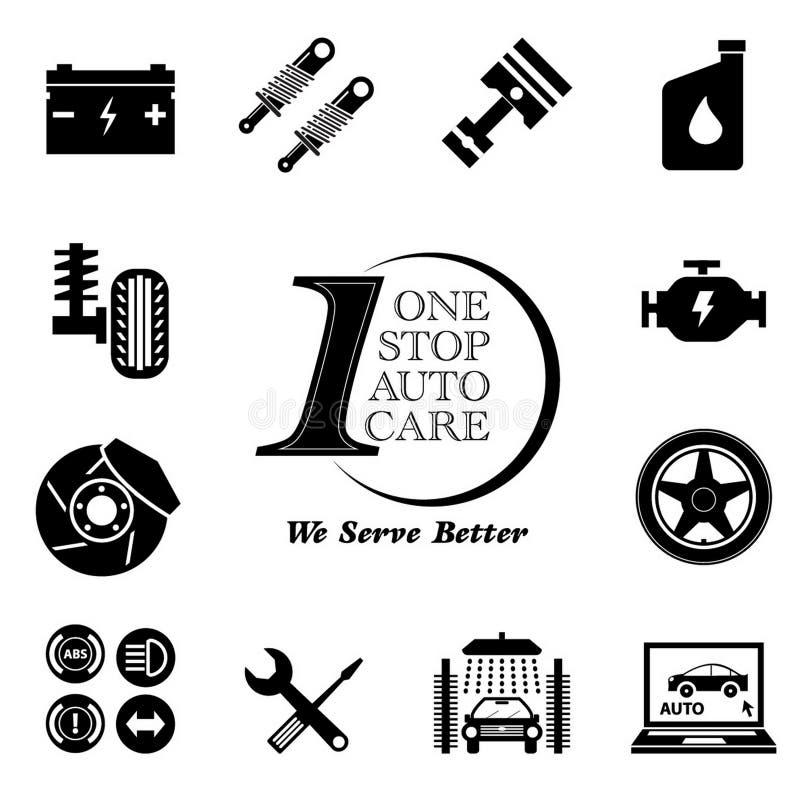 Grupo do ícone da manutenção do serviço do carro ilustração stock