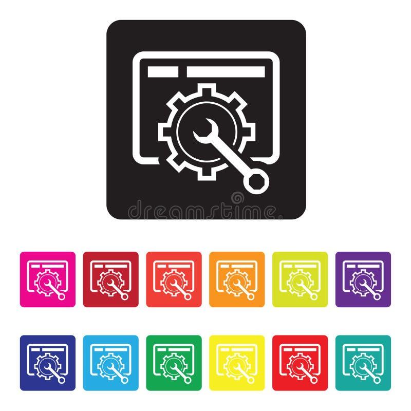 Grupo do ícone da manutenção do Web site ilustração stock