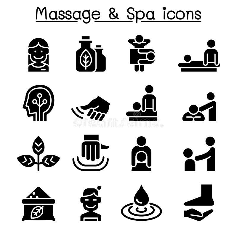 Grupo do ícone da massagem & dos termas ilustração royalty free
