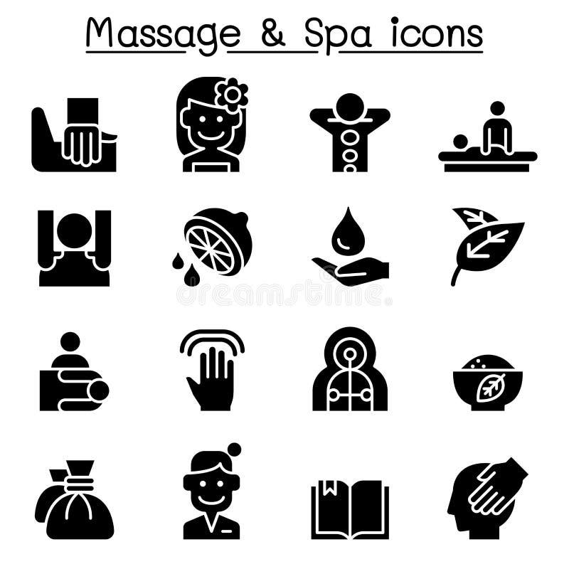 Grupo do ícone da massagem & dos termas ilustração do vetor