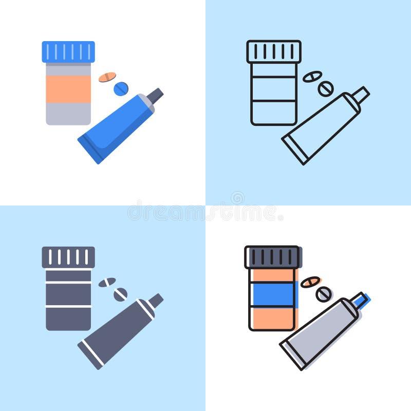 Grupo do ?cone da medicamenta??o no plano e na linha estilo ilustração do vetor