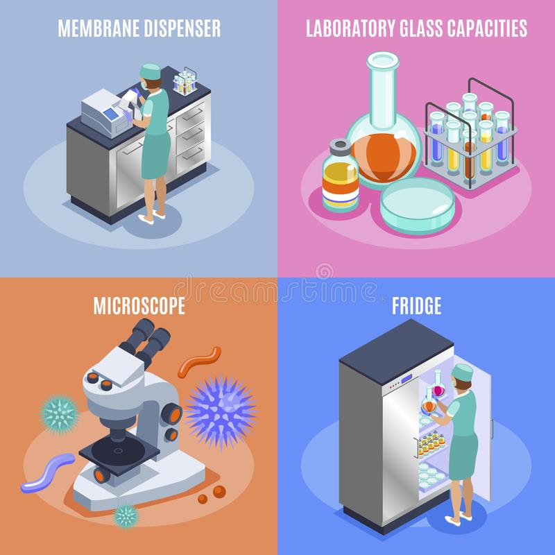 Grupo do ícone da microbiologia ilustração stock