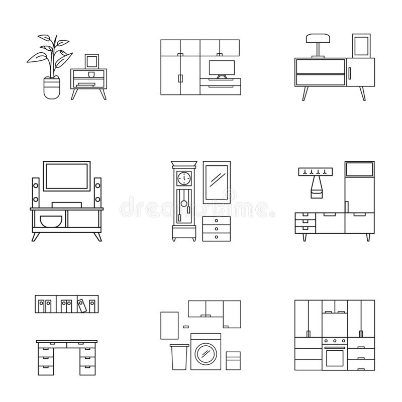 Grupo do ícone da mobília, estilo do esboço ilustração royalty free